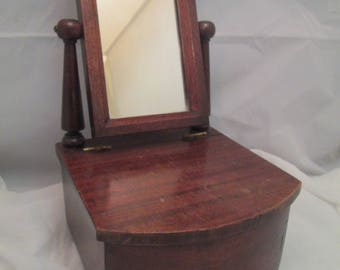 Antique MAhogany Dresser Table Top Jewelry Dressing Box Tilt Top Mirror Drawer Signed Heilman Cabinet PA