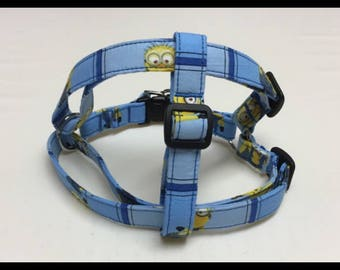 Ready to ship- Blue Minion Print Step in Harness