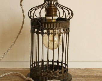 Vintage bird cage lamp