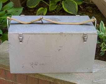 Vintage Steel Cooler with Galvanized Liner and Canvas Strap, Galvanized Milk Box, Camping Cooler with Handles, Industrial Metal Cooler