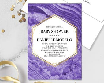 Ultraviolet Baby Shower Invitation / Purple Gemstone, Violet Marble, Agate, Purple & Gold Geometric ▷Printed Invitations {or} Printable