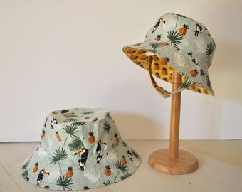 Pineapple / Toucan Reversible Bucket Hat (baby to adult size)