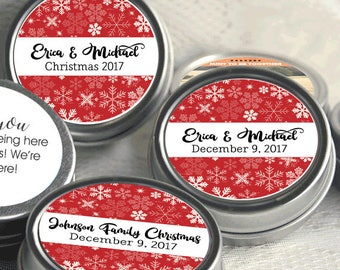 12 Personalized Christmas Mint Tins Favors - Christmas Tin Mints - Christmas Favors - Christmas Party Favors - Corporate Party Favors