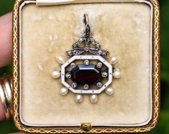 Antique Victorian Garnet, Pearl, Diamond & Enamel Octagon Pendant in 15k Gold, c1880