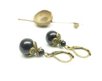 • Romance • small black retro earrings