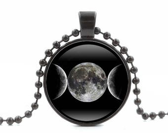 Triple Goddess Moon Symbol Glass Charm Pendant Black Necklace 22 Inches