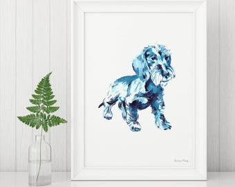 Wire-Haired Dachshund Illustration Print A4