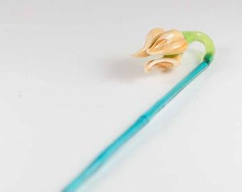 Glass Flower Tulip Hand Blown Figurine
