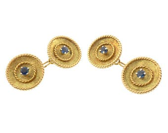 French 18K Yellow Gold Sapphire Double-Sided Cufflinks