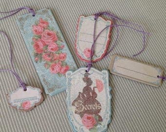 Set of 5 Victorian style tags. Set of 35.