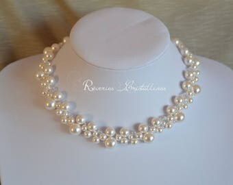 Wedding necklace pearls and Swarovski crystals, pearls, white necklace, bridal necklace, white bridal jewelry, pearly