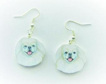 Pekingese - White Earrings