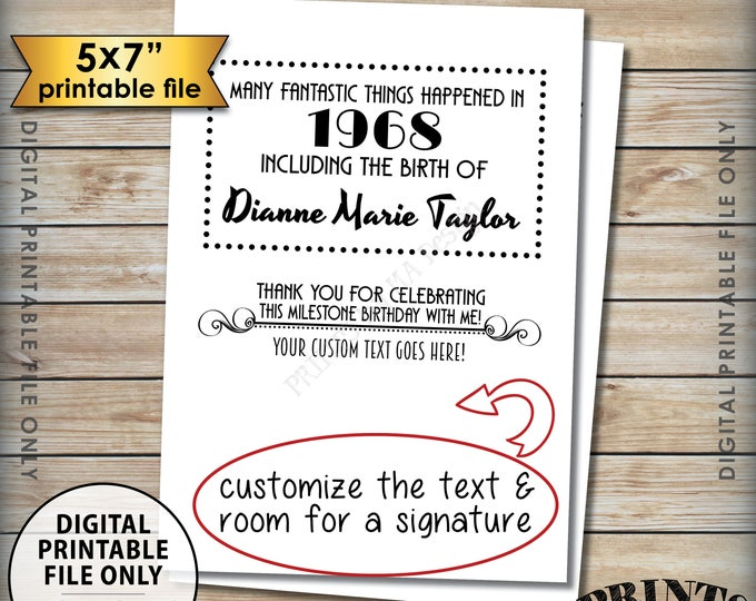 "Thank You Card that matches the Flashback Birthday Invitations, Custom Birthday Thank You Card, Black Text, PRINTABLE 5x7"" Thank You Card"