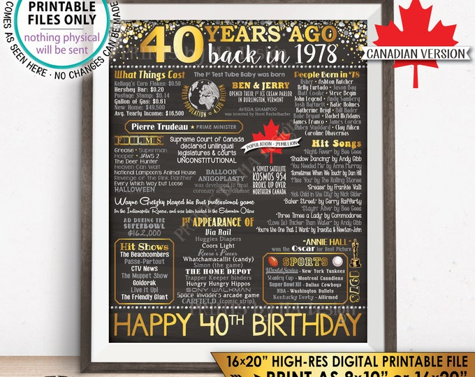 """40th Birthday Gift, Born in CANADA in 1978 Birthday Flashback 40 Years Back in 1978, Gold, PRINTABLE 8x10/16x20"""" Chalkboard Style Sign <ID>"""