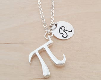 Pi  - Charm - Personalized Necklace - Custom Initial Necklace- Silver Necklace