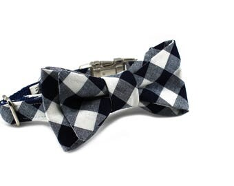 Luxury Dog or Cat Bow Tie - The COOPER // Classic (navy check print)
