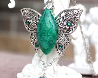 Butterfly necklace with agate and swarovski elements