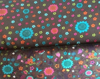 Stoffecke flower on brown back ground jersey pre cut to one meter (top fabric)