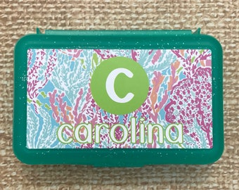 Custom Supply Box.  Personalized Pencil Box.  Monogrammed school Supplies.  Lily Pulitzer design.