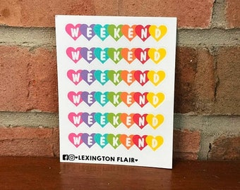 50% OFF SALE Heart Weekend Planner Stickers - Colorful Hearts - Set of 6 - Great for Erin Condren, Happy Planner, Calendars, Journaling