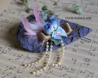 Romantic Beige fascinator/hat and blue for wedding or ceremony / pearls and lace