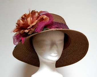 Wedding Cocktail Hat chocolate brown and Burgundy with big flower and silk ribbon