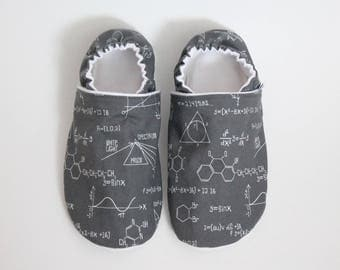 ADULT slippers, Moccasins, Custom made, Flannel and Cotton, Soft sole, Cozy interior shoes, Maths, Grey, Geek, Men, Women, Unisex, Science