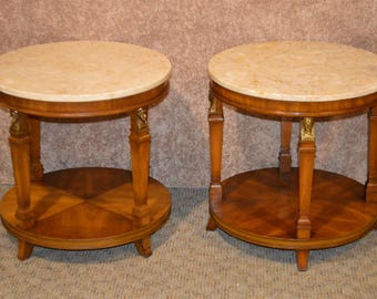 Pair Of Vintage French Empire Style Marble Top Side Tables W/Brass Accents