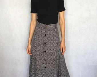 Vintage Floral Button Down Maxi / Full Length Skirt