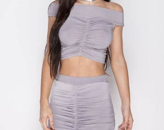 Runched Front two piece Set