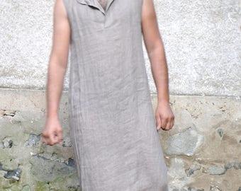 Gray 100% LINEN men's Tunic/Minimalist design/Summer caftan for men/Handmade tunic/Men's long shirt/Sleeveless men's Long Tunic/MT1002