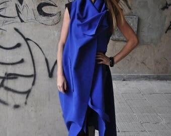 15% SUMMER SALE Woman's Coat, Blue Coat, Casual Coat, Asymmetrical Coat, Blue Cashmere Vest, Sleeveless Coat by EUG Fashion