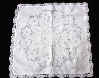 A Pretty White Italian Cotton Cushion cover. 15.5 inches x 15.5 inches. (39.5 x39.5 cm) | Sourced in Italy