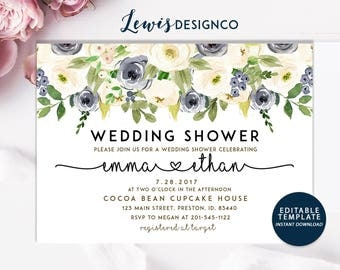 Wedding Shower Invitation, Floral Bridal Shower Card, Couples Shower Invite, Editable Card Print Yourself Instant Download, Winter Wedding