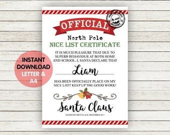PRINTABLE letter from santa, personalised santa mail, official nice list certificate, instant download letter from santa, north pole mail