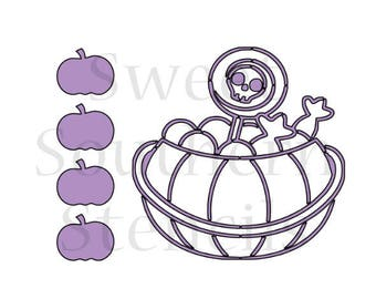 Trick or Treat Candy Bucket PYO Cookie Stencil