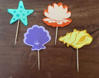 Seashell/Starfish Cupcake Toppers Set of 12