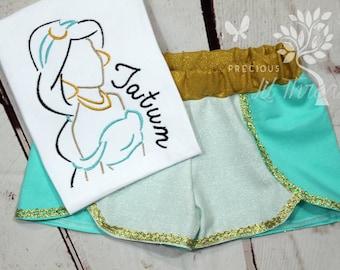 Girls Princess Jasmine Shirt- Jasmine Outfit- Toddler Girls- Jasmine Inspired Shorts- Baby Girl- Jasmine- 6m, 12m, 18m, 2t, 3t, 4, 5, 6 8