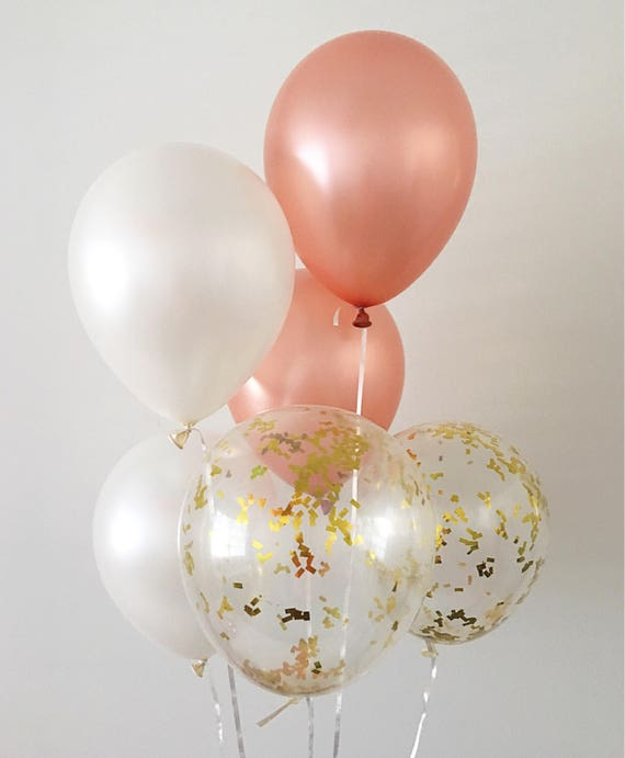 rose gold pearl white balloons gold confetti balloons rose. Black Bedroom Furniture Sets. Home Design Ideas
