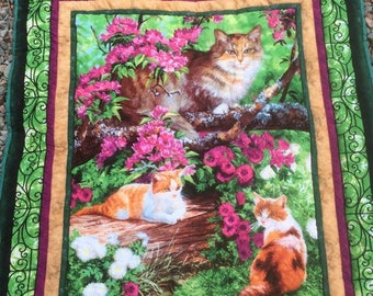 Cats and pretty pink flowers quilt quilted throw