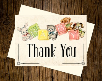 Baby Blocks Thank You Note Cards Custom Printed Handmade Stationery Set of 12  Pink Yellow Green Vintage Ecru Bunny Rabbit Kitten Puppy Bear