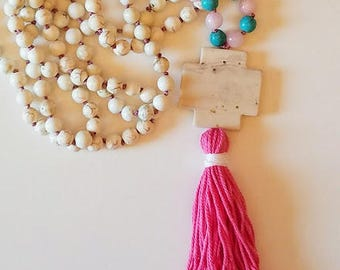 Beautiful Handmade White Howlite Mala 108 Prayer Beads FREE SHIPPING