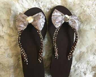 Brown Bow Flip Flops