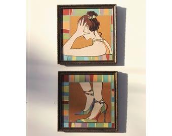 Woman Art Pieces Vintage Woman Art Vintage Female Art Vintage Art Pieces Vintage Set of Art Vintage Woman Art Set Funky Vintage Art Fiber