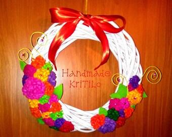 Autumn wreath door wreath behind with Handmade flowers KriTiLo
