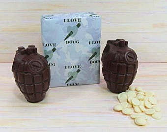 Milk Chocolate Valentines gift idea, two milk chocolate hand grenades, solid and white chocolate buttons