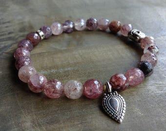 Strawberryquartz 8 mm bohemian bracelet boho bracelet gypsy gemstone womens jewelry boho chic bracelet hippie bracelet rustic bracelet