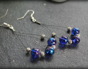 Earrings creole transparent blue