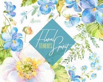 Floral Spirit. Elements. Watercolor flowers, clipart, violet, spring, light, viola, pansy, forget-me-not, fern, wedding, snowdrop, flourish