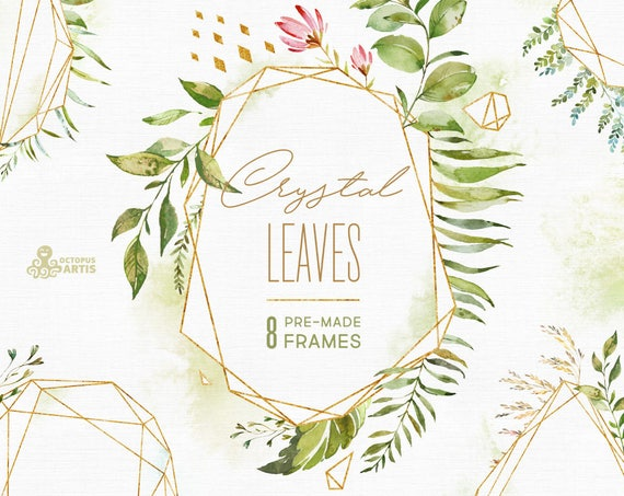 Crystal Leaves Frames Watercolor Floral Amp Polygonal Pre Made